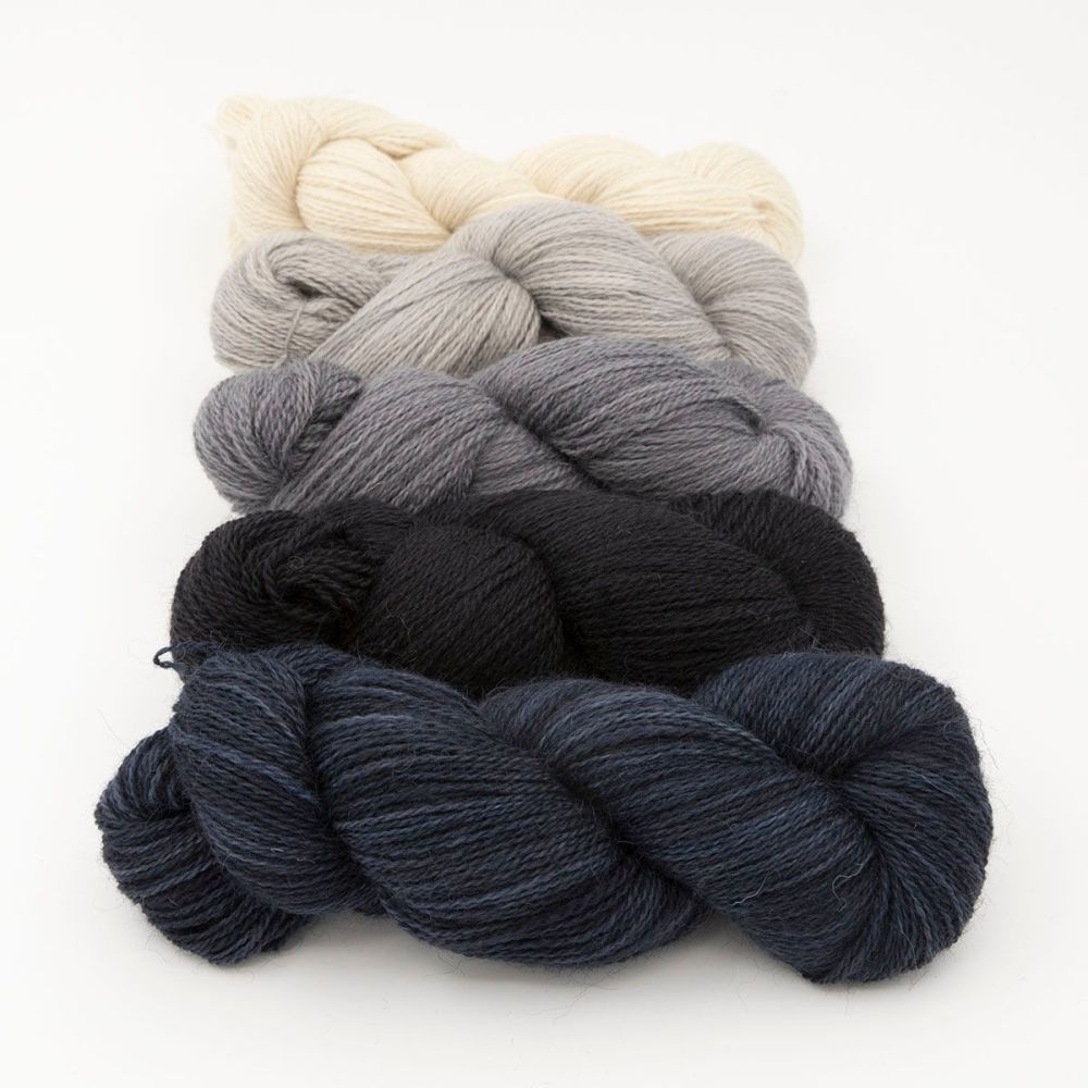 neutral fade and darkest day blue one farm yarn 4ply hand dyed british woo