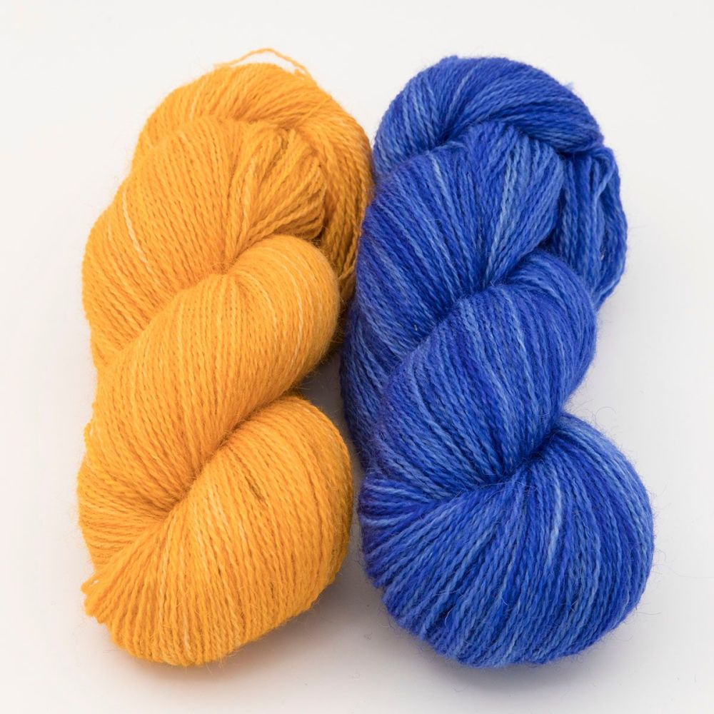 duo marigold hyacinth one farm yarn 4ply hand dyed british wool the knitti
