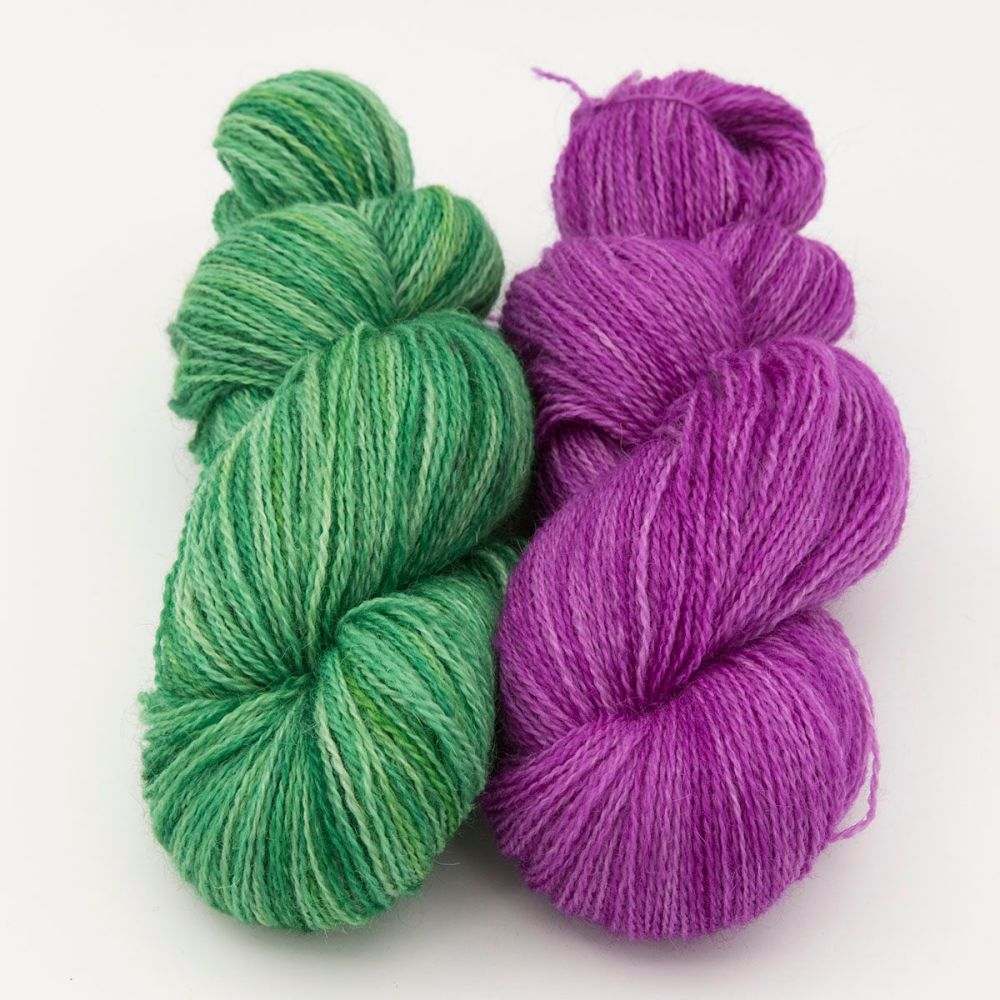 duo hellebore wisteria one farm yarn 4ply hand dyed british wool the knitt
