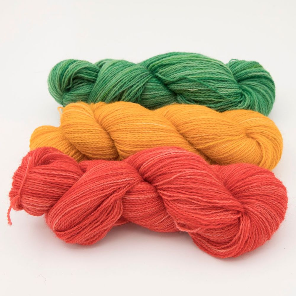 trio geranium marigold hellebore one farm yarn 4ply hand dyed british wool