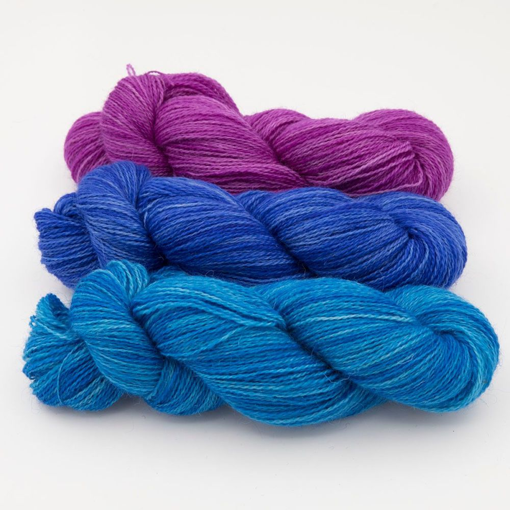 trio bluebell hyacinth wisteria one farm yarn 4ply hand dyed british wool