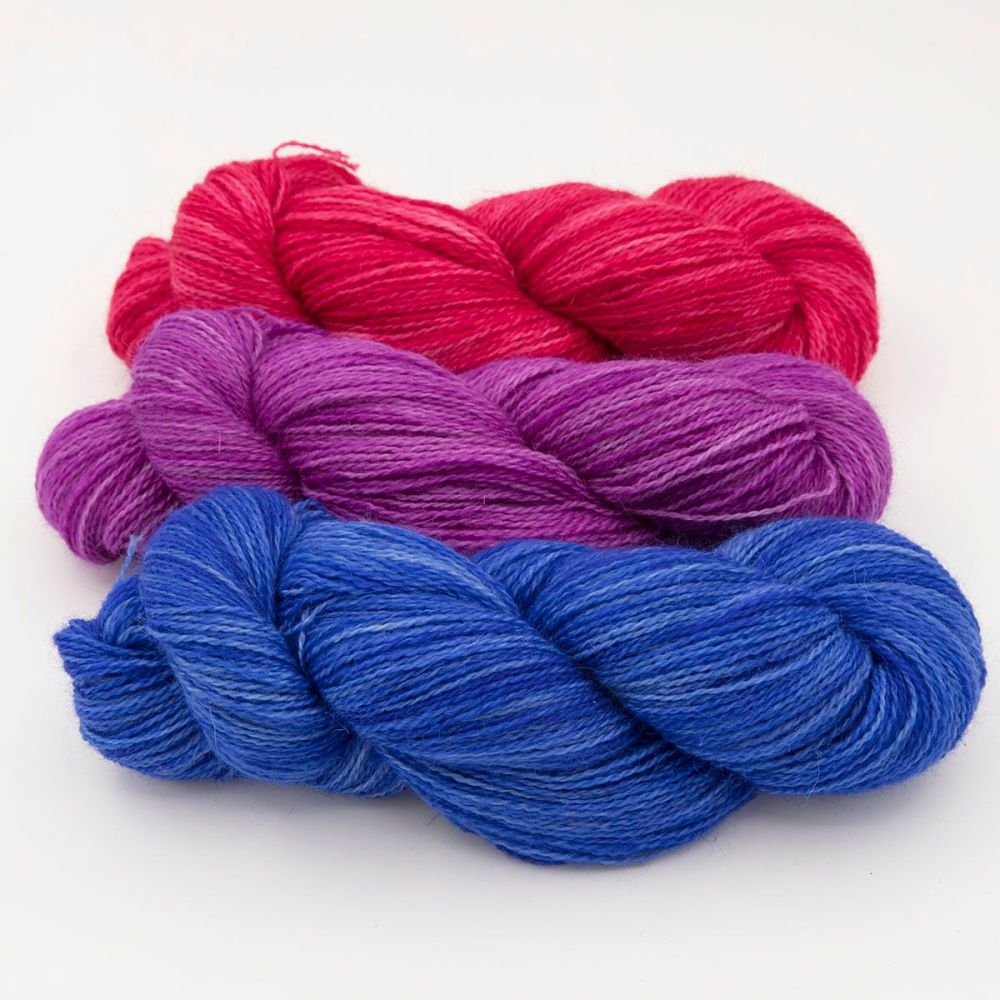 trio hyacinth wisteria rose one farm yarn 4ply hand dyed british wool the