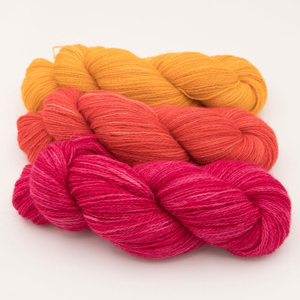 trio rose geranium marigold one farm yarn 4ply hand dyed british wool the
