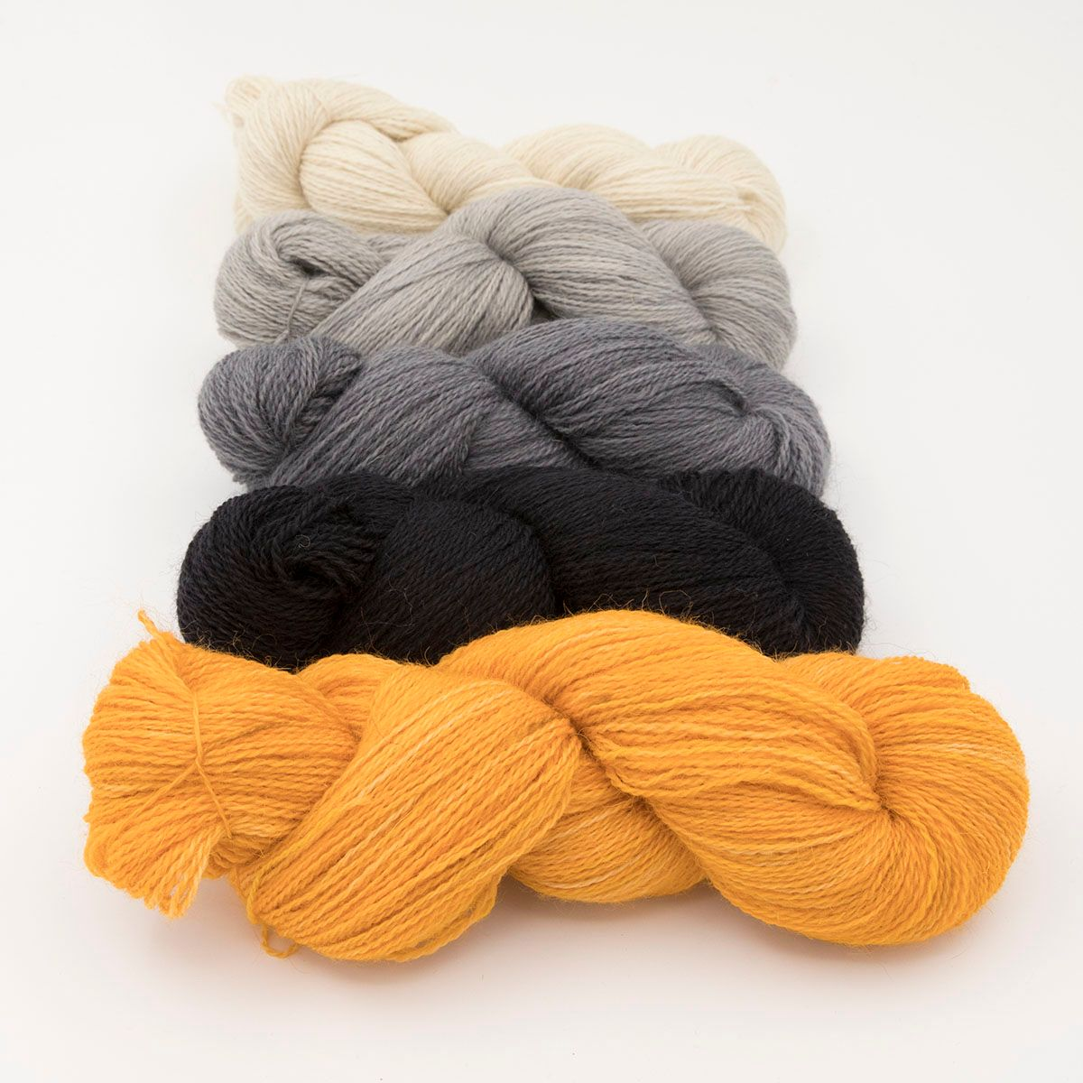 neutral fade and marigold one farm yarn 4ply hand dyed british wool the kn