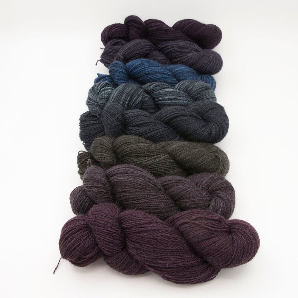 dark rainbow skeins one farm yarn 4ply hand dyed british wool the knitting