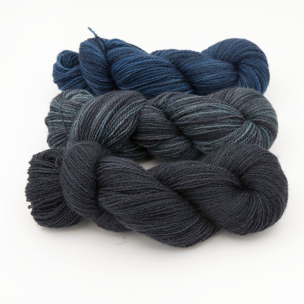 trio dark green turquoise blue one farm yarn 4ply hand dyed british wool t