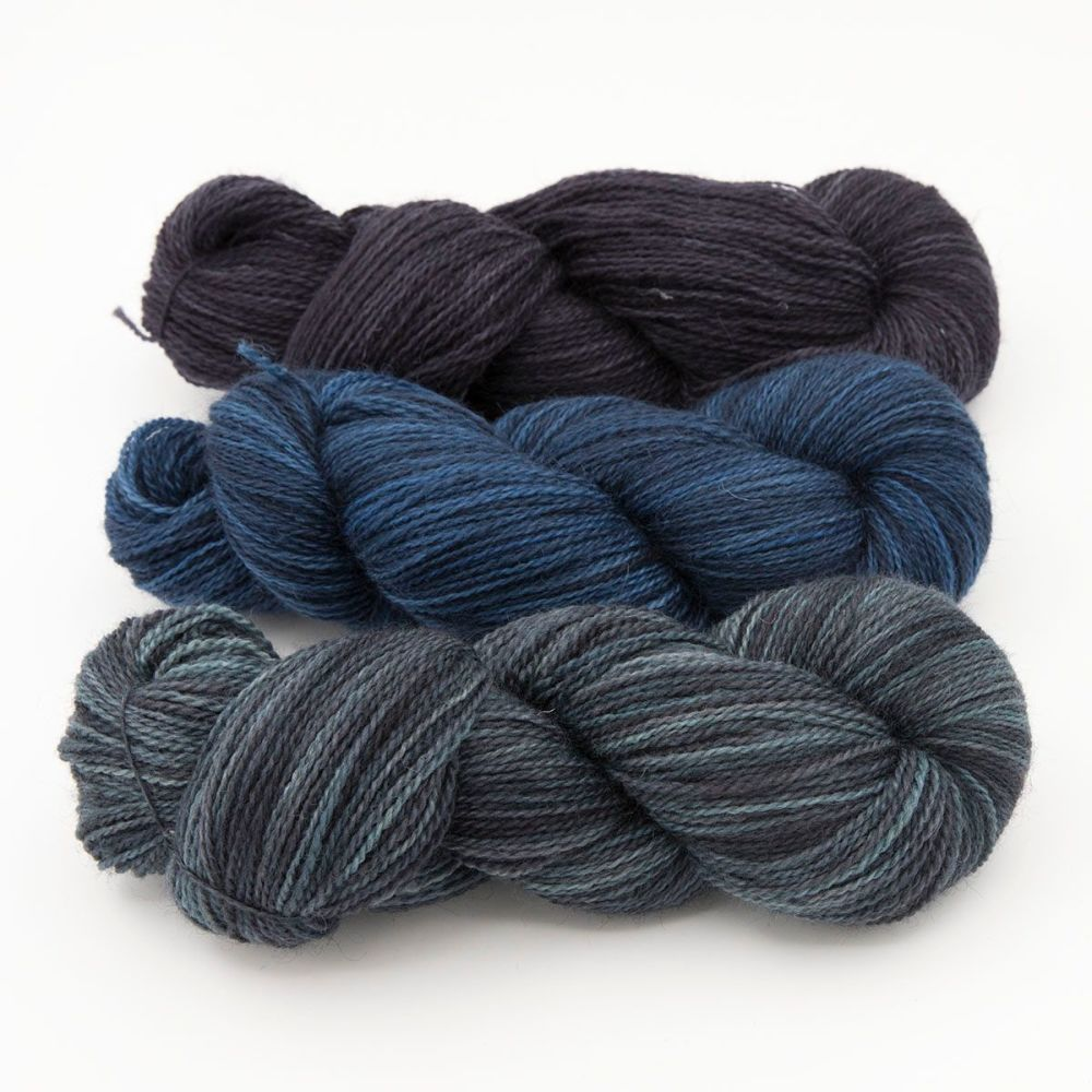 trio dark turquoise blue violet one farm yarn 4ply hand dyed british wool