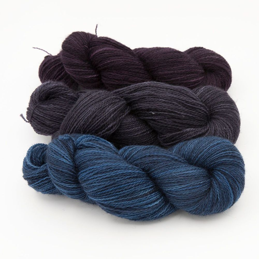 trio dark blue violet pink one farm yarn 4ply hand dyed british wool the k