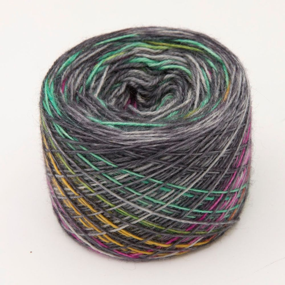 Printer Ink on Charcoal Self Striping Sock Yarn