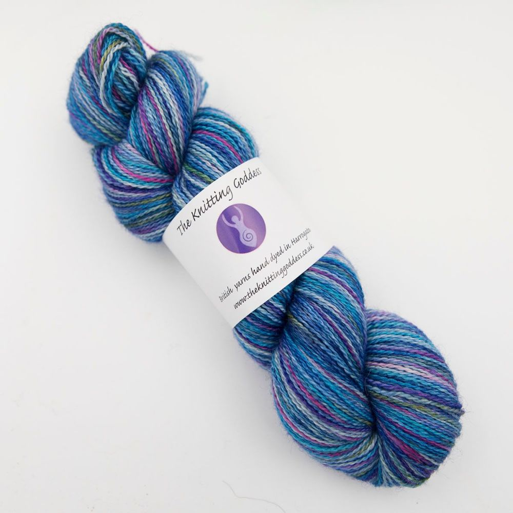 4ply BFL, silk and alpaca - Blue Rainbow Splodge