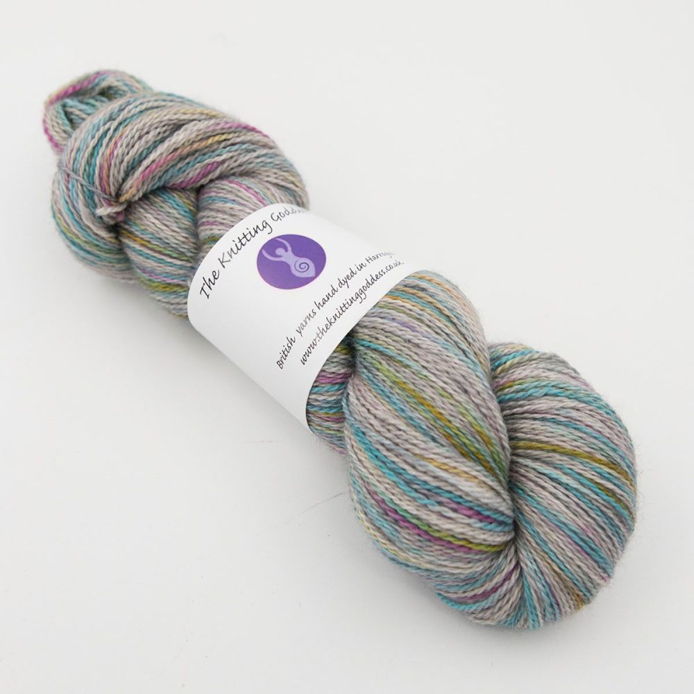 <!-- 002 -->4ply BFL, silk and alpaca - Pearl Rainbow Splodge