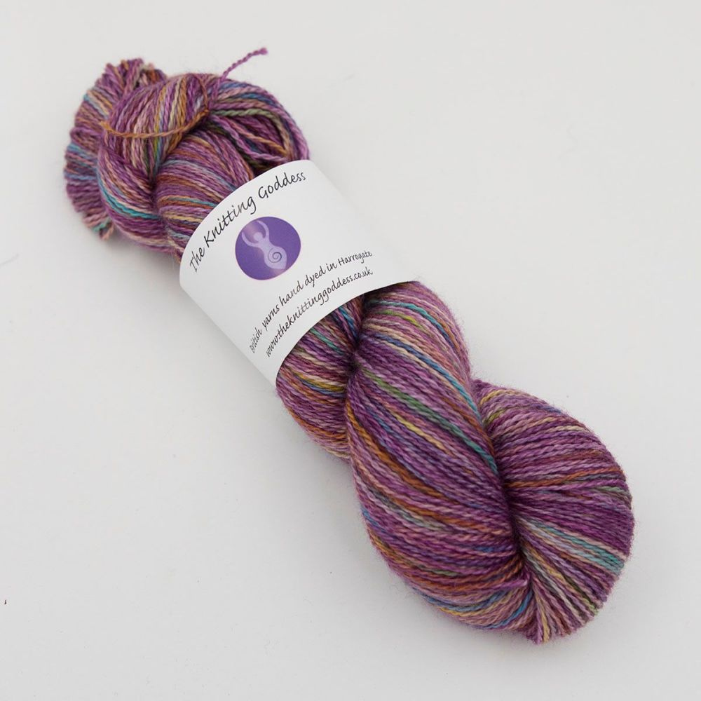 4ply BFL, silk and alpaca - Plum Rainbow Splodge