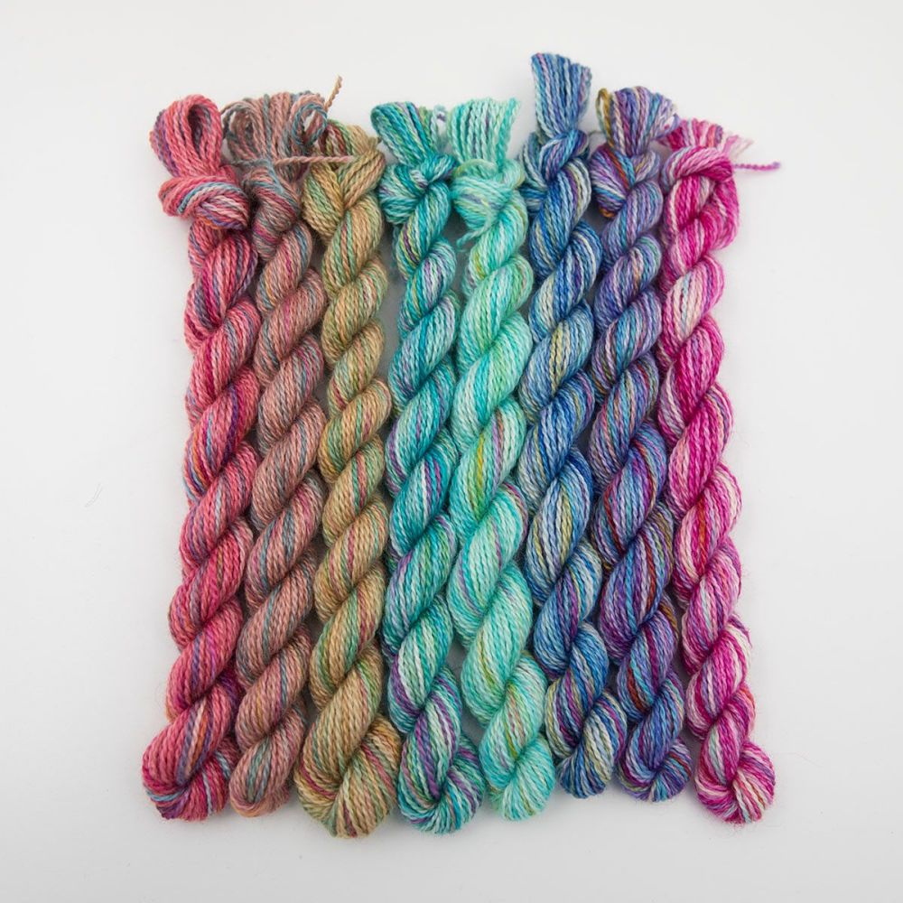 <!-- 002 -->4ply BFL, silk and alpaca - Rainbow Splodge mini skein set