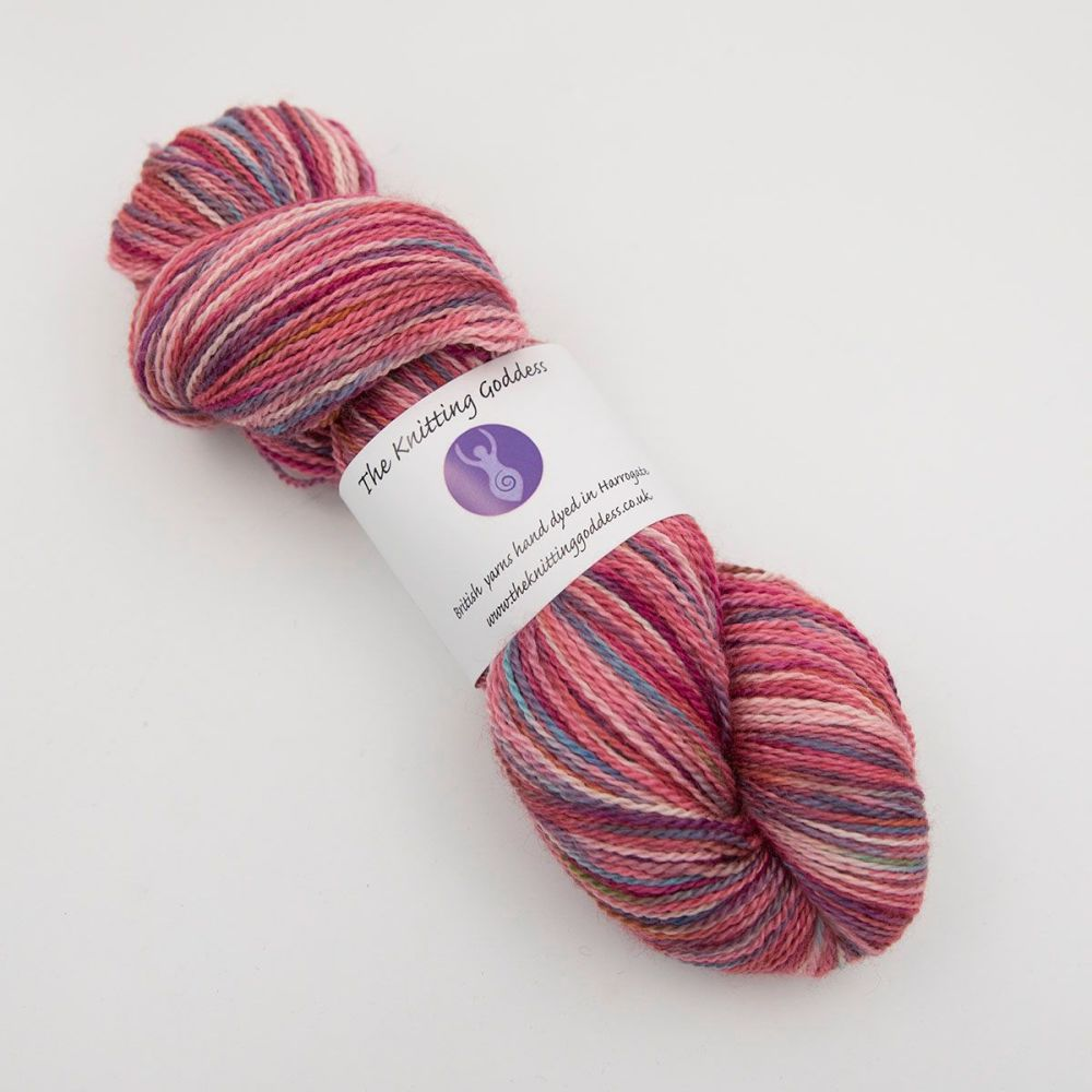 4ply BFL, silk and alpaca - Red Rainbow Splodge