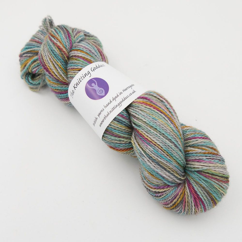 4ply BFL, silk and alpaca - Silver Rainbow Splodge