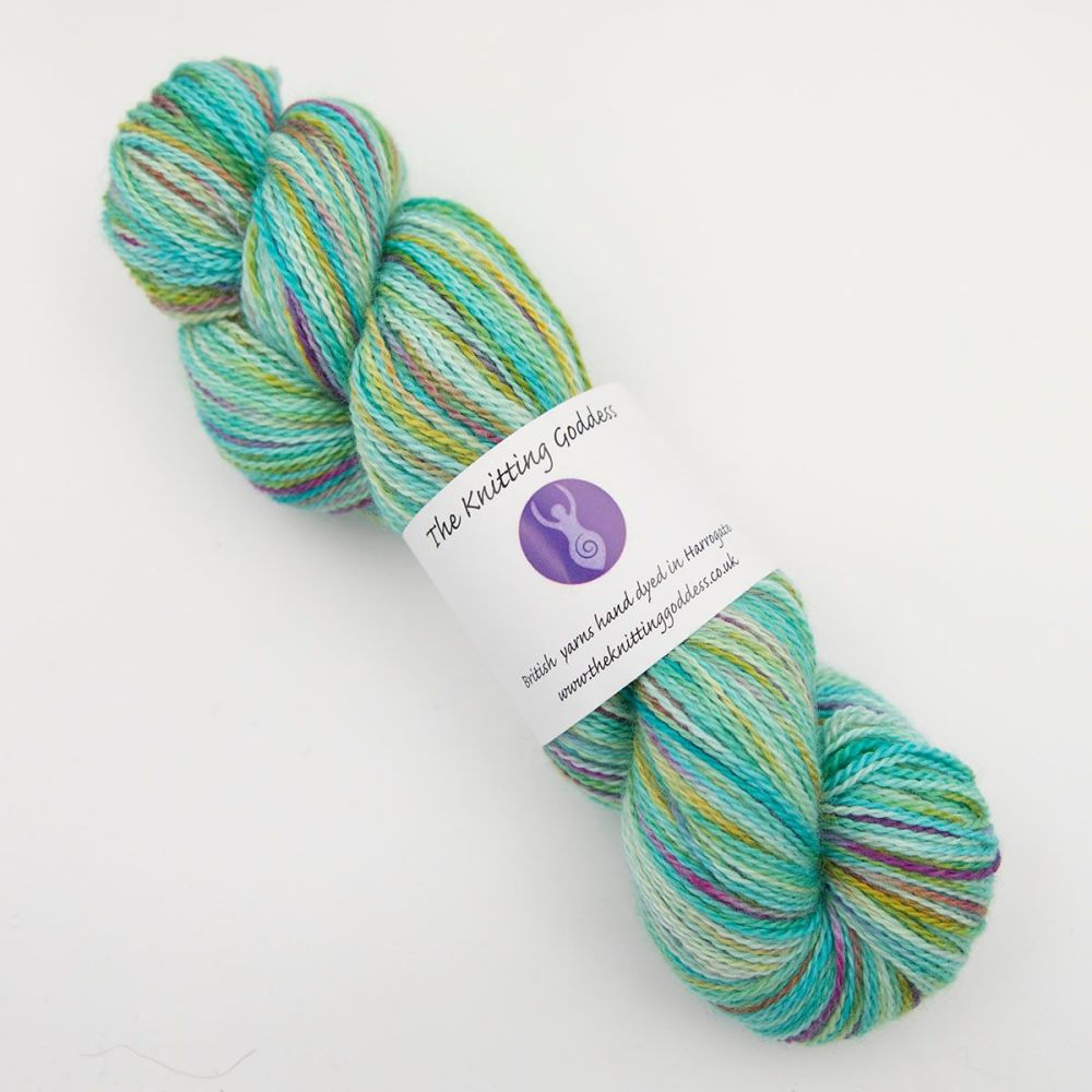 4ply BFL, silk and alpaca - Turquoise Rainbow Splodge