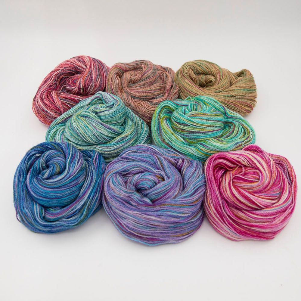 rainbow splodge yarn swirl blue faced leicester silk alpaca luxury british