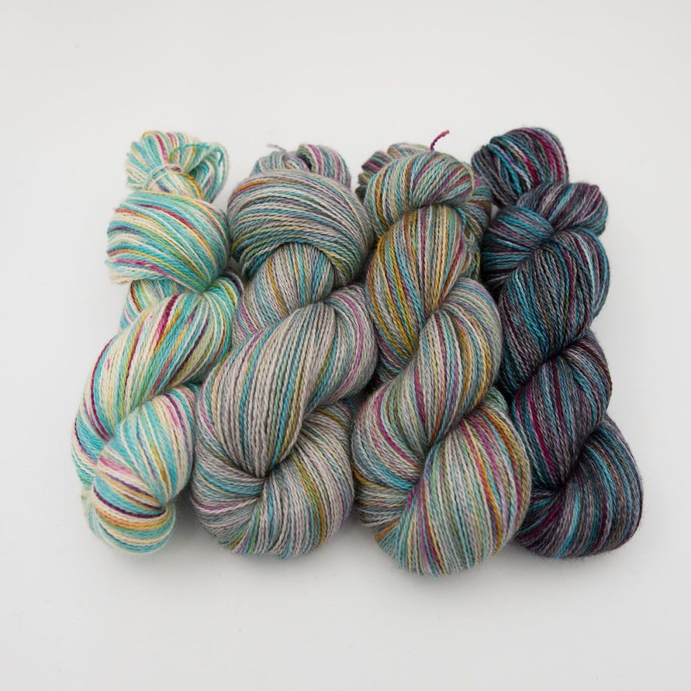 cloud pearl silver coal rainbow splodge yarn blue faced leicester silk alp