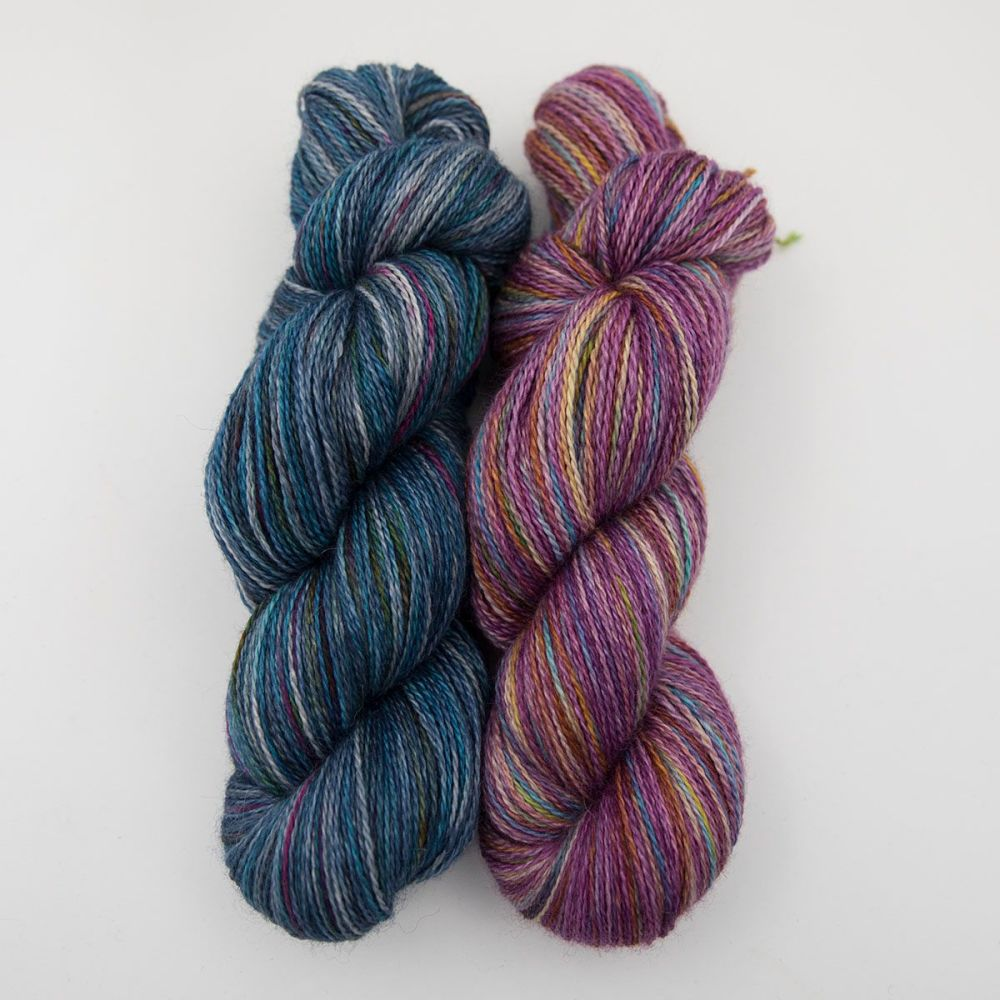 navy and plum rainbow splodge yarn blue faced leicester silk alpaca luxury
