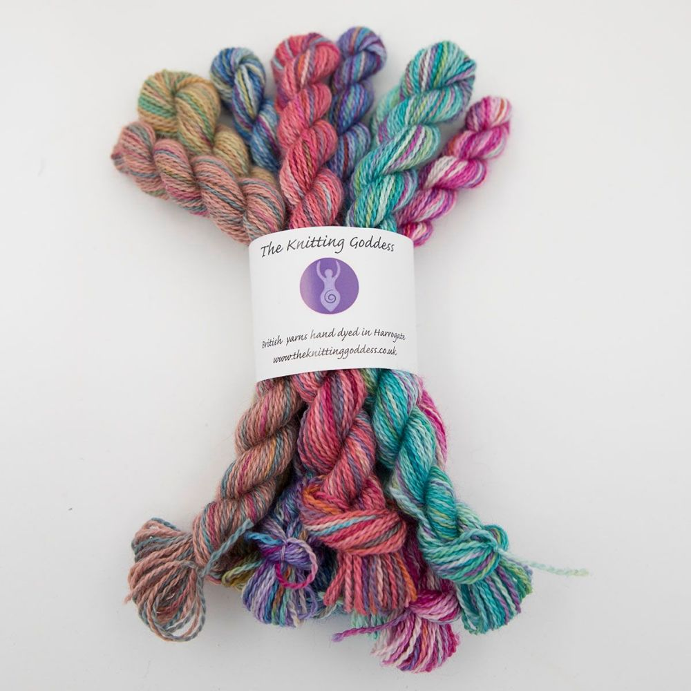 rainbow splodge mini skein bundle blue faced leicester silk alpaca luxury b