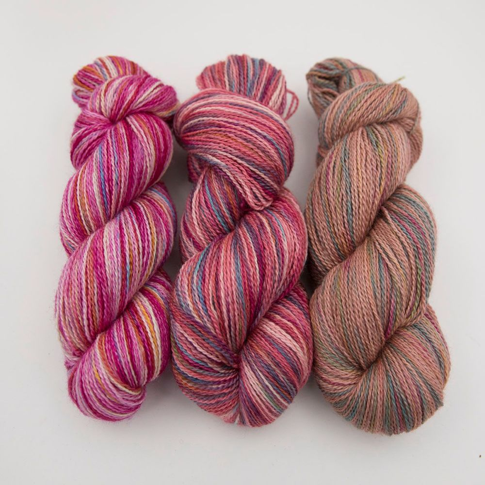 pink red orange rainbow splodge yarn blue faced leicester silk alpaca luxu