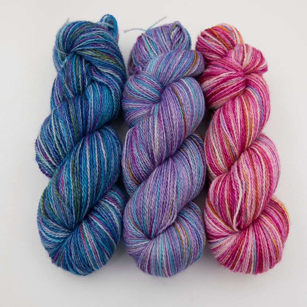 blue purple pink coal rainbow splodge yarn blue faced leicester silk alpac