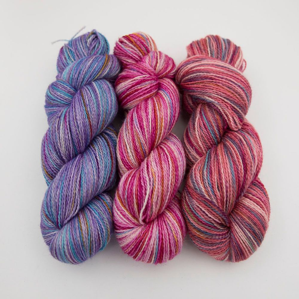 purple pink red rainbow splodge yarn blue faced leicester silk alpaca luxu