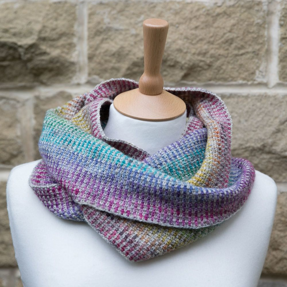 Rainbow Crochet Linen Stitch Cowl - Digital Download
