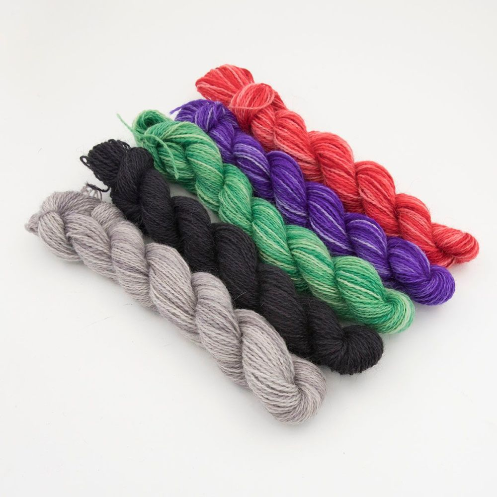 frosty and festive gradient mini skeins one farm yarn hand dyed yarn the kn