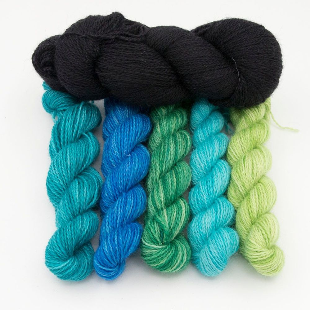 black and ocean depths gradient mini skeins one farm yarn hand dyed yarn th