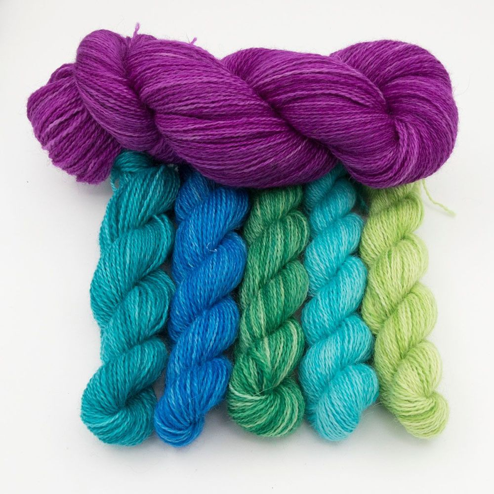 wisteria and ocean depths gradient mini skeins one farm yarn hand dyed yarn