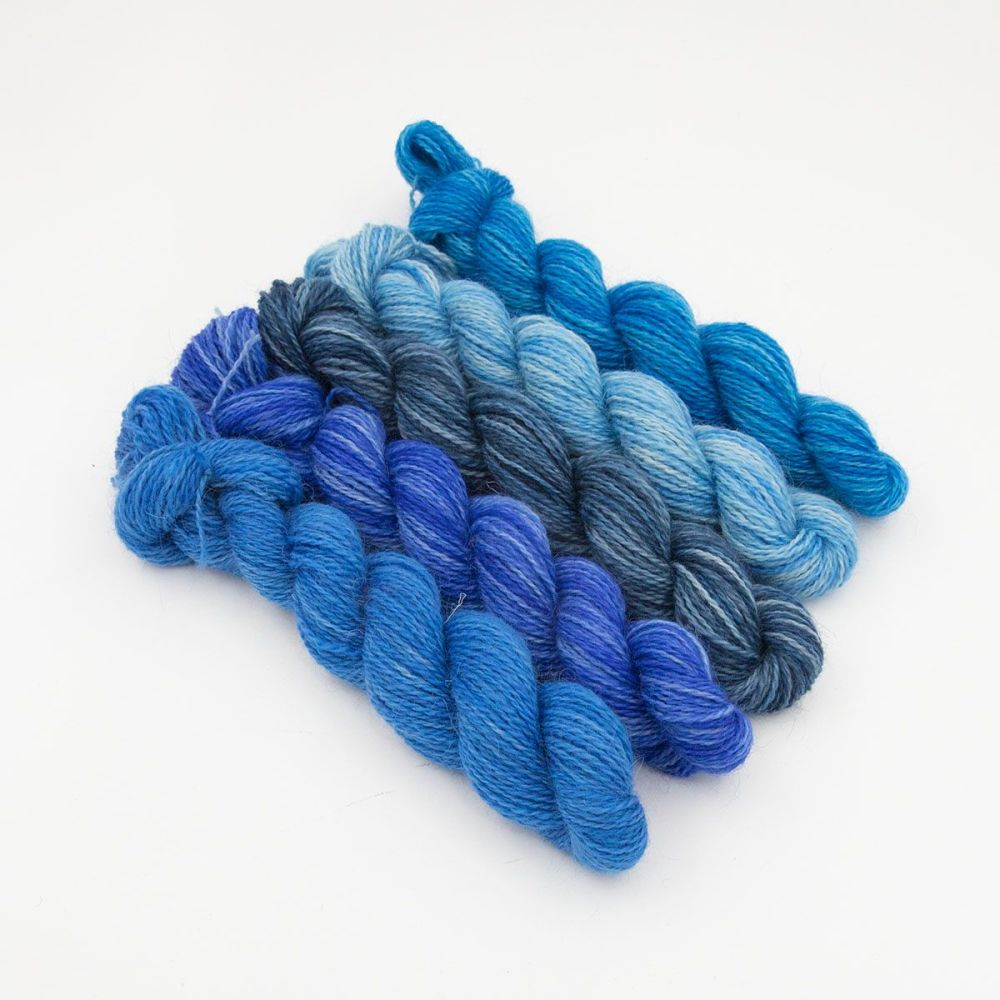 the blues can be happy too gradient mini skeins one farm yarn hand dyed yar