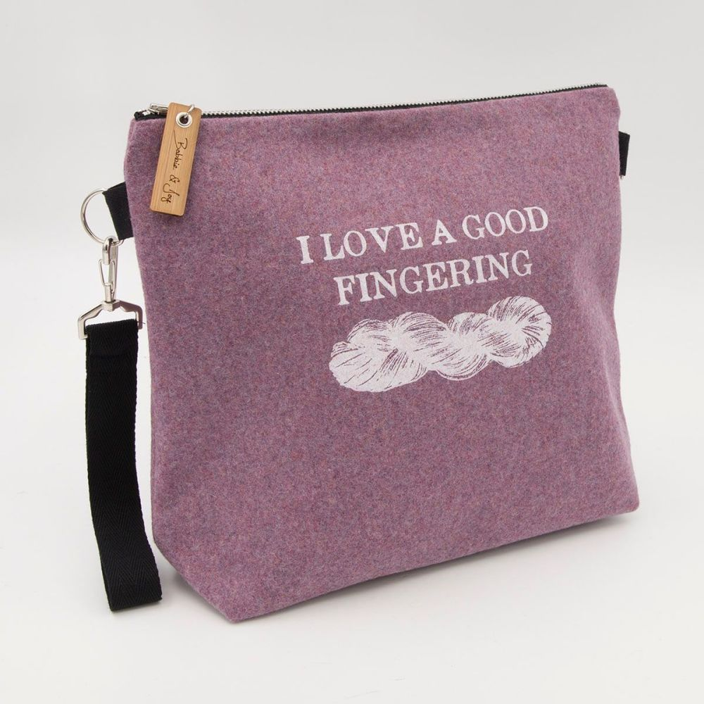 I Love A Good Fingering Pale Pink Wool Felt Bag