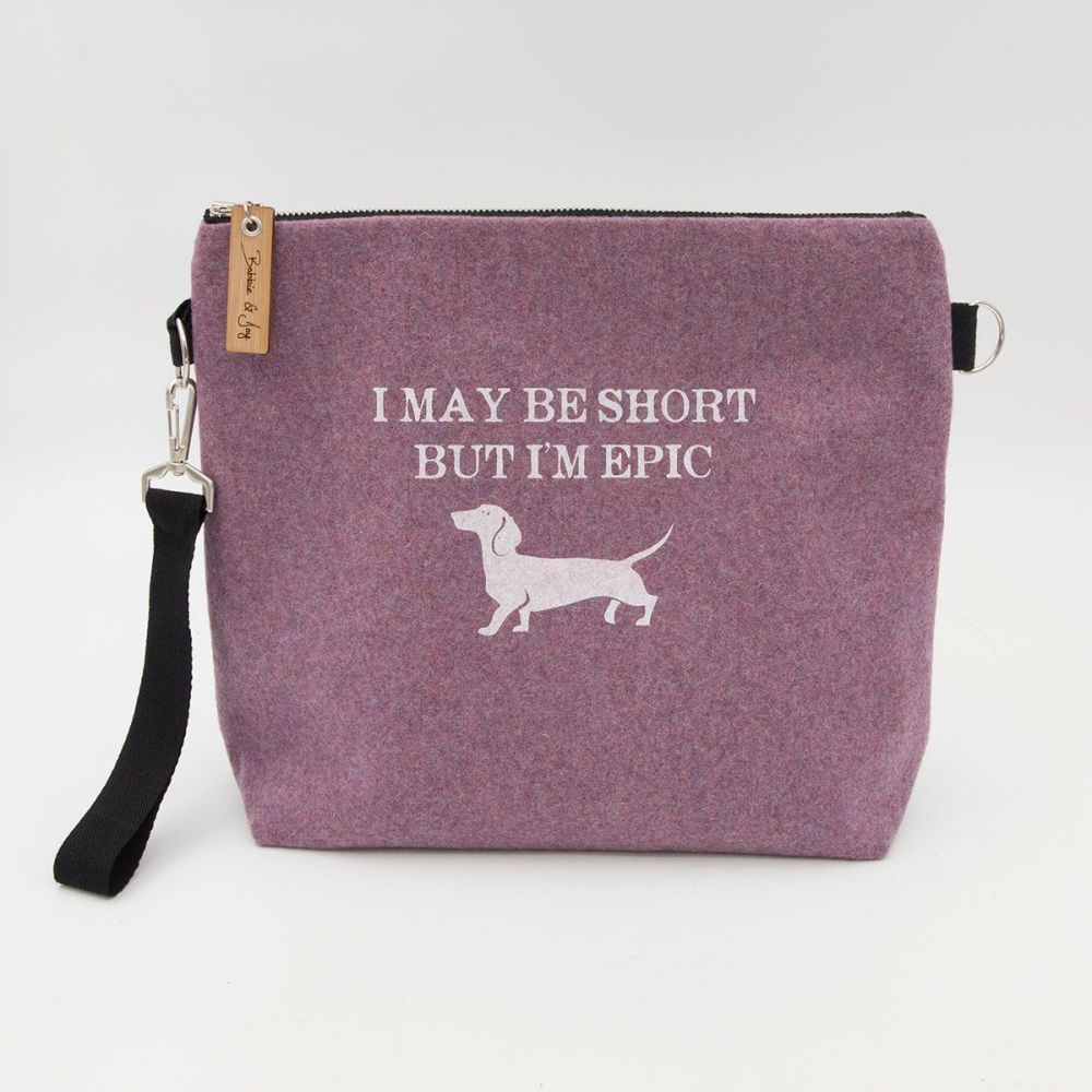 I May Be Short But I'm Epic Pale Pink Wool Felt Bag