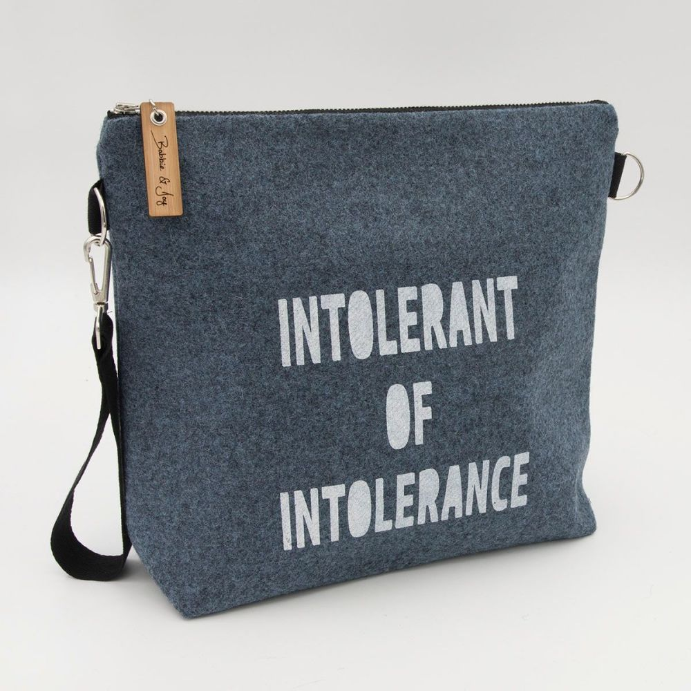 Intolerant of Intolerance Blue Wool Felt Bag