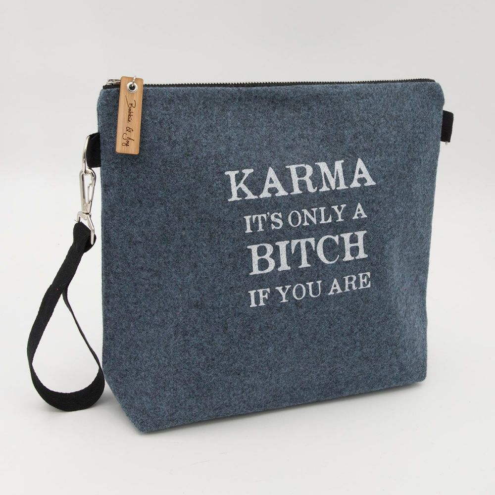Karma Blue Wool Felt Bag