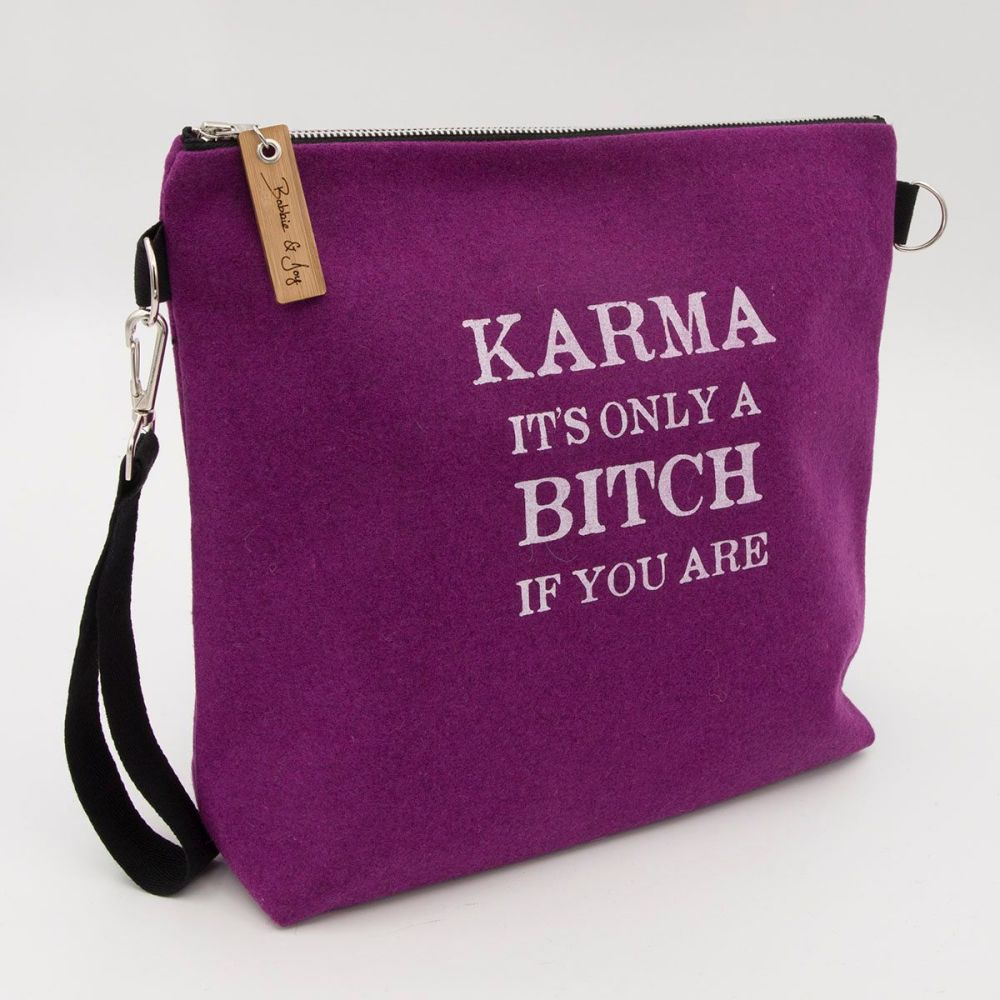 Karma Pink Wool Felt Bag