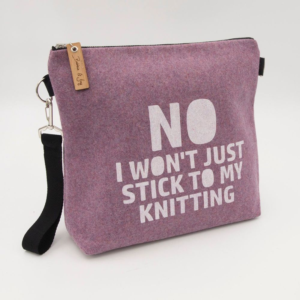 Stick To My Knitting Pale Pink Wool Felt Bag