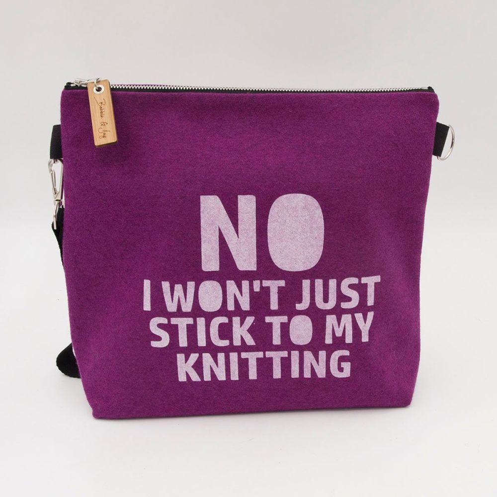 Stick To My Knitting Pink Wool Felt Bag