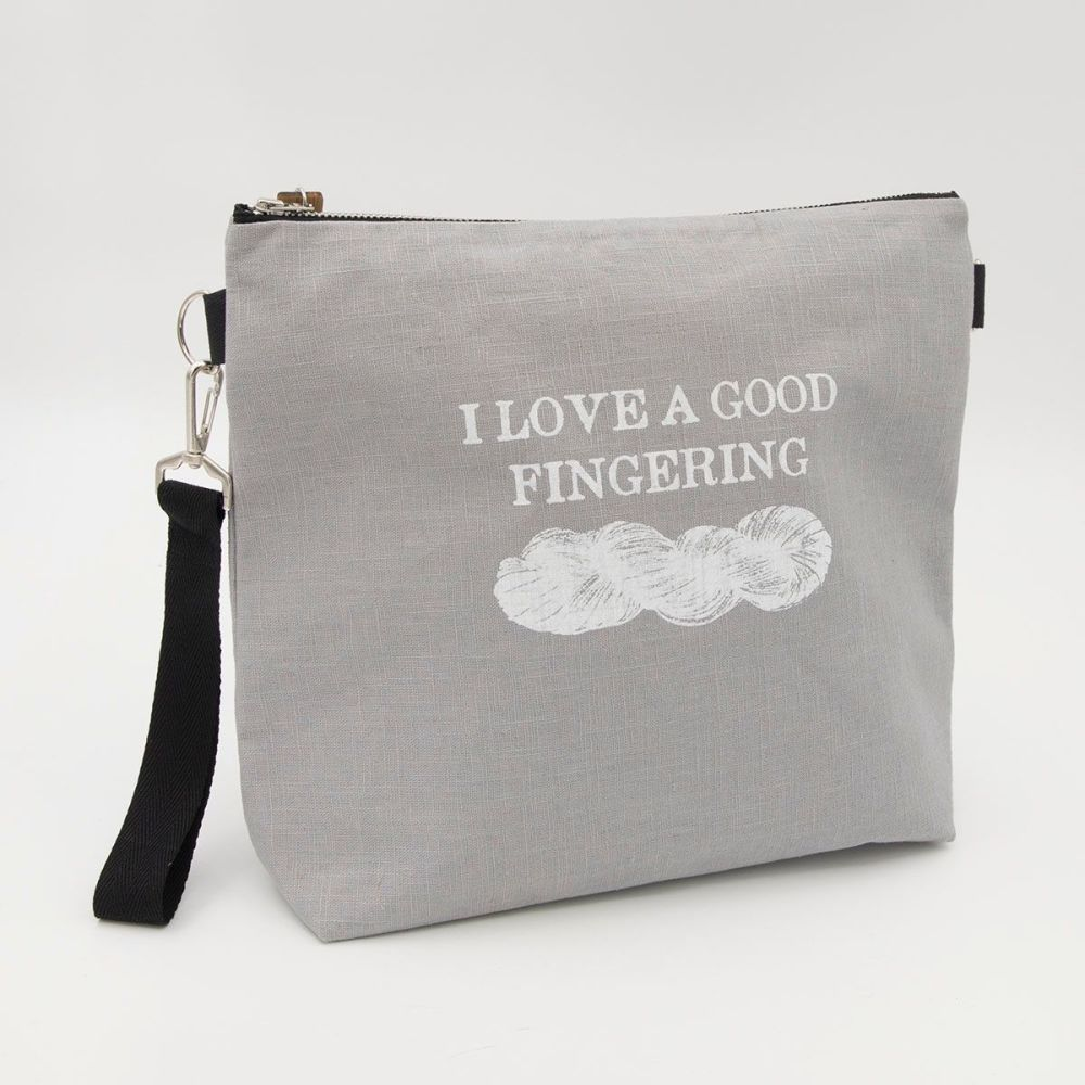 I Love A Good Fingering Silver Linen Zipped Bag
