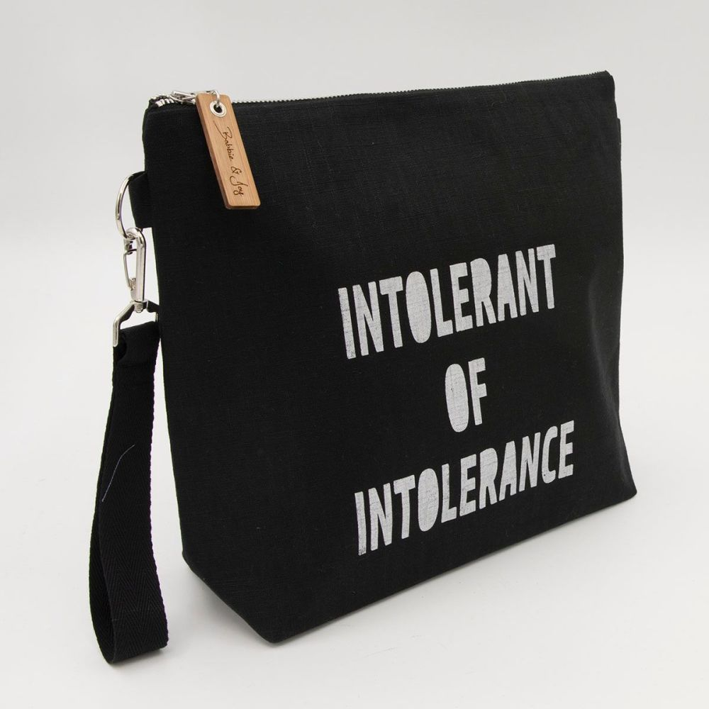 Intolerant of Intolerance Black Linen Zipped Bag