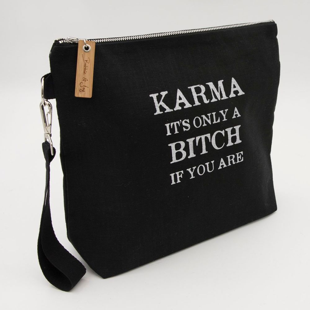 Karma Bitch Black Linen Zipped Bag