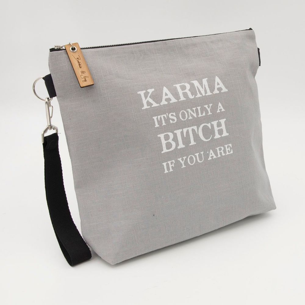 Karma Bitch Silver Linen Zipped Bag