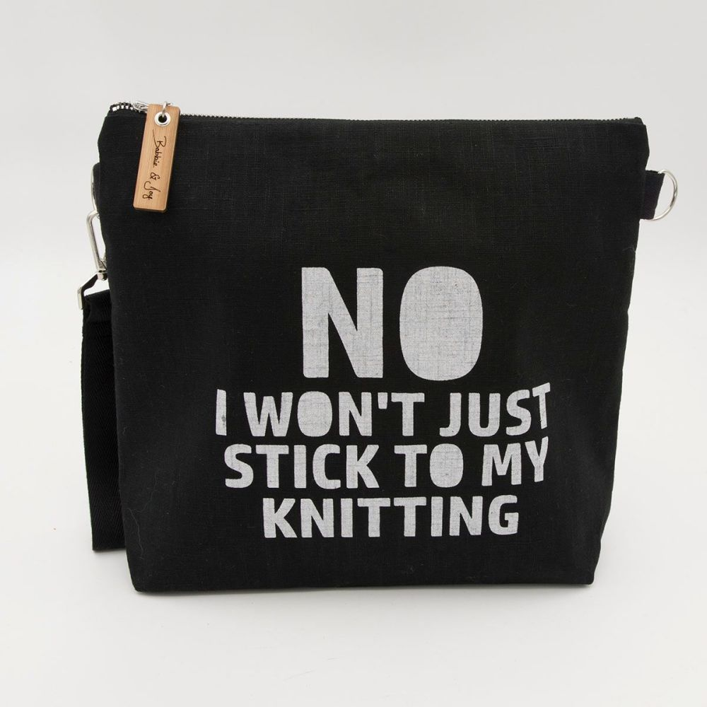 Stick to my Knitting Black Linen Zipped Bag