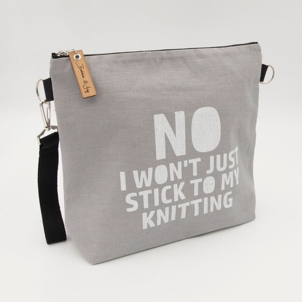 Stick to my Knitting Silver Linen Zipped Bag