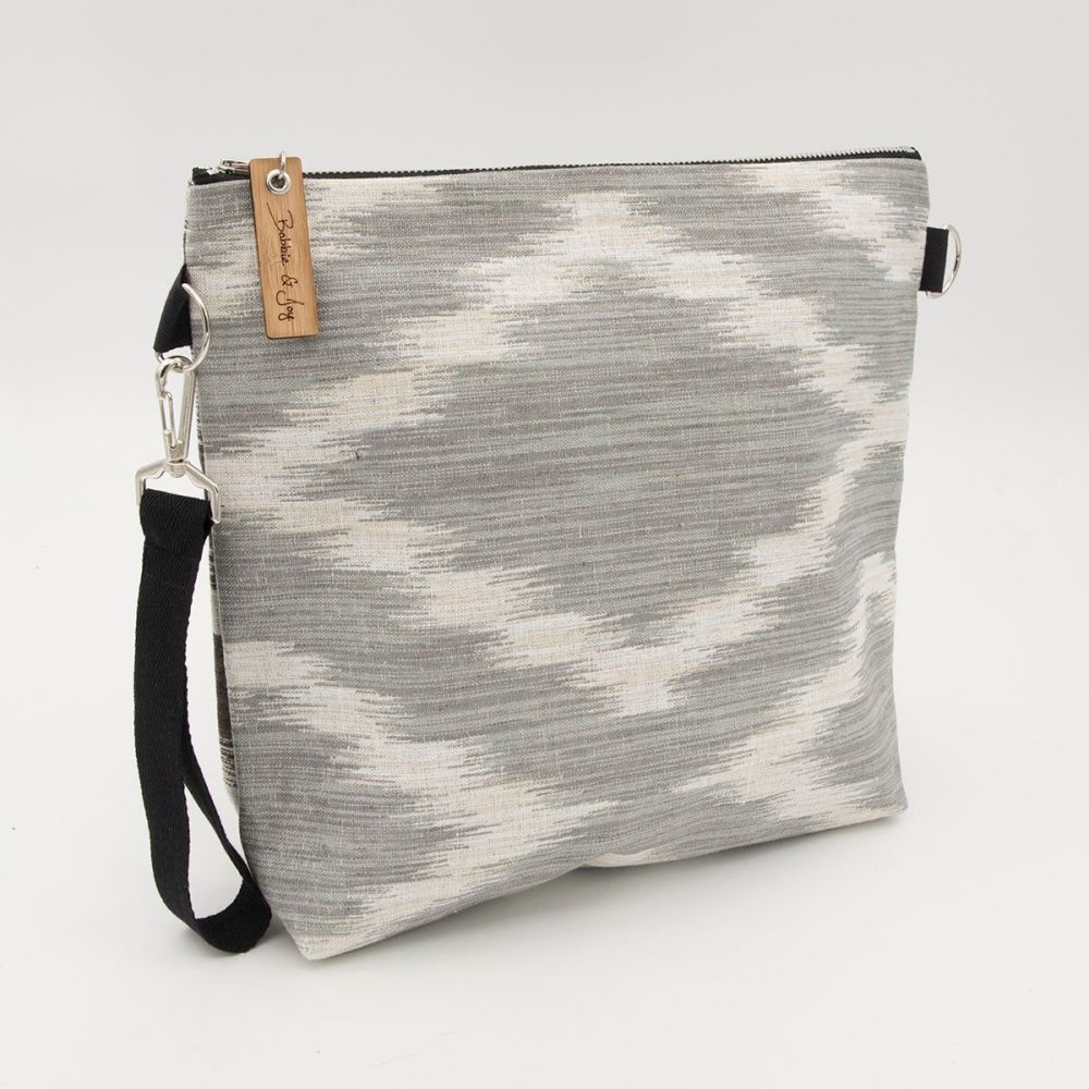 Bag 1 - Reclaimed Fabric Project Bag Coffee and Cream Ikat Print
