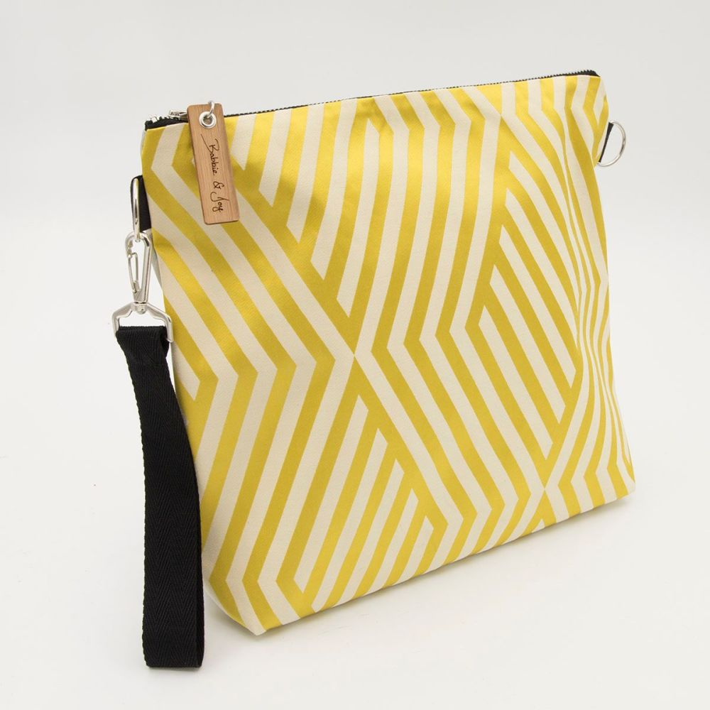 Bag 4 - Reclaimed Fabric Project Bag Silver and Gold Diamond Stripes