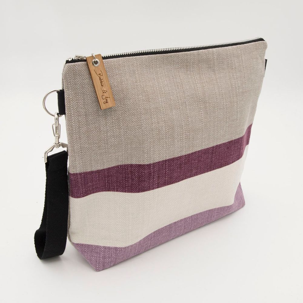 Bag 13 - Reclaimed Fabric Project Bag Plum and Charcoal Stripes