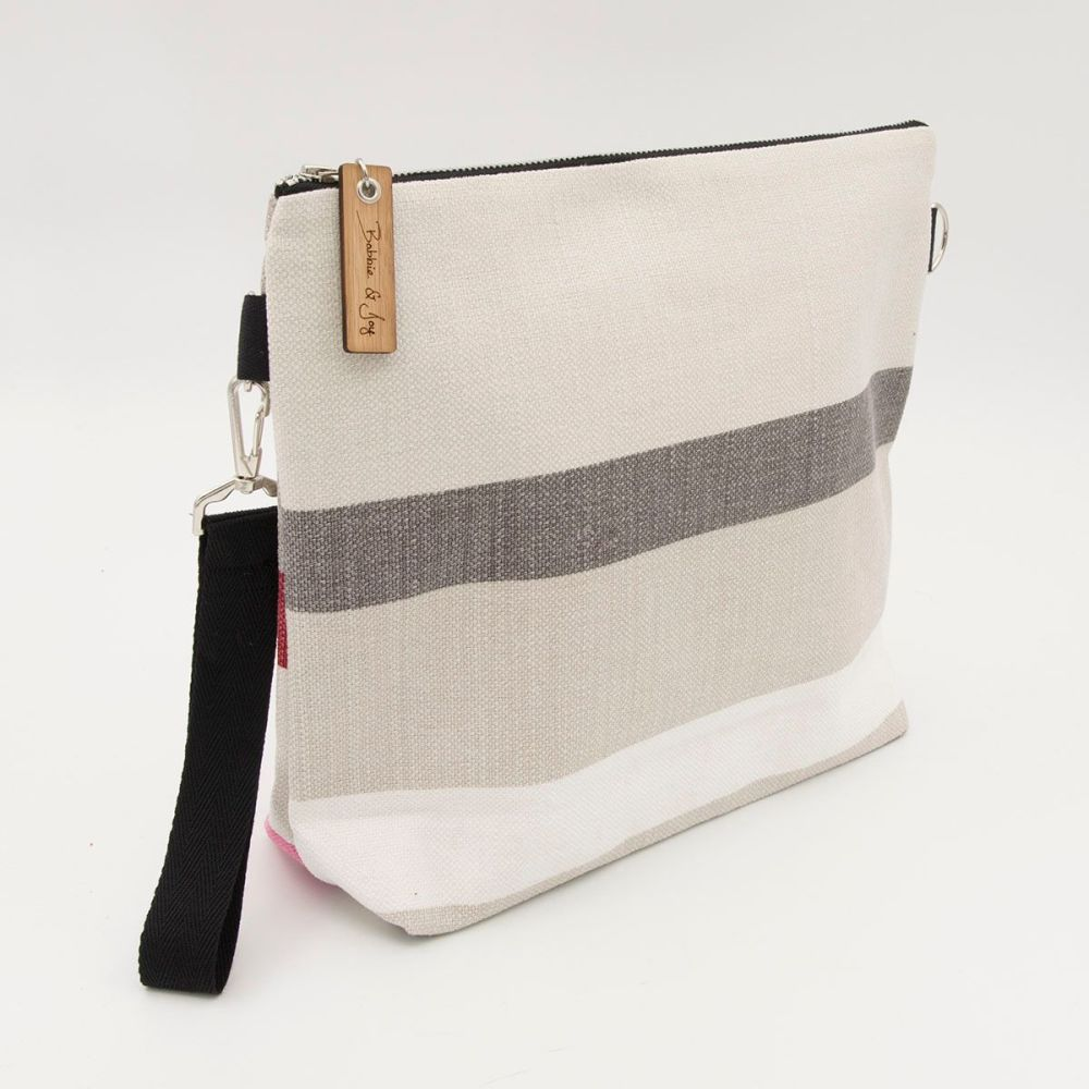 Bag 14 - Reclaimed Fabric Project Bag Pink and Charcoal Stripes
