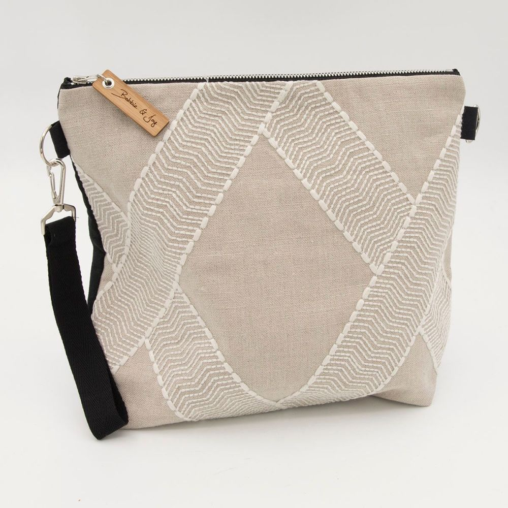 Bag 23 - Reclaimed Fabric Project Bag embroidered white diamond on taupe